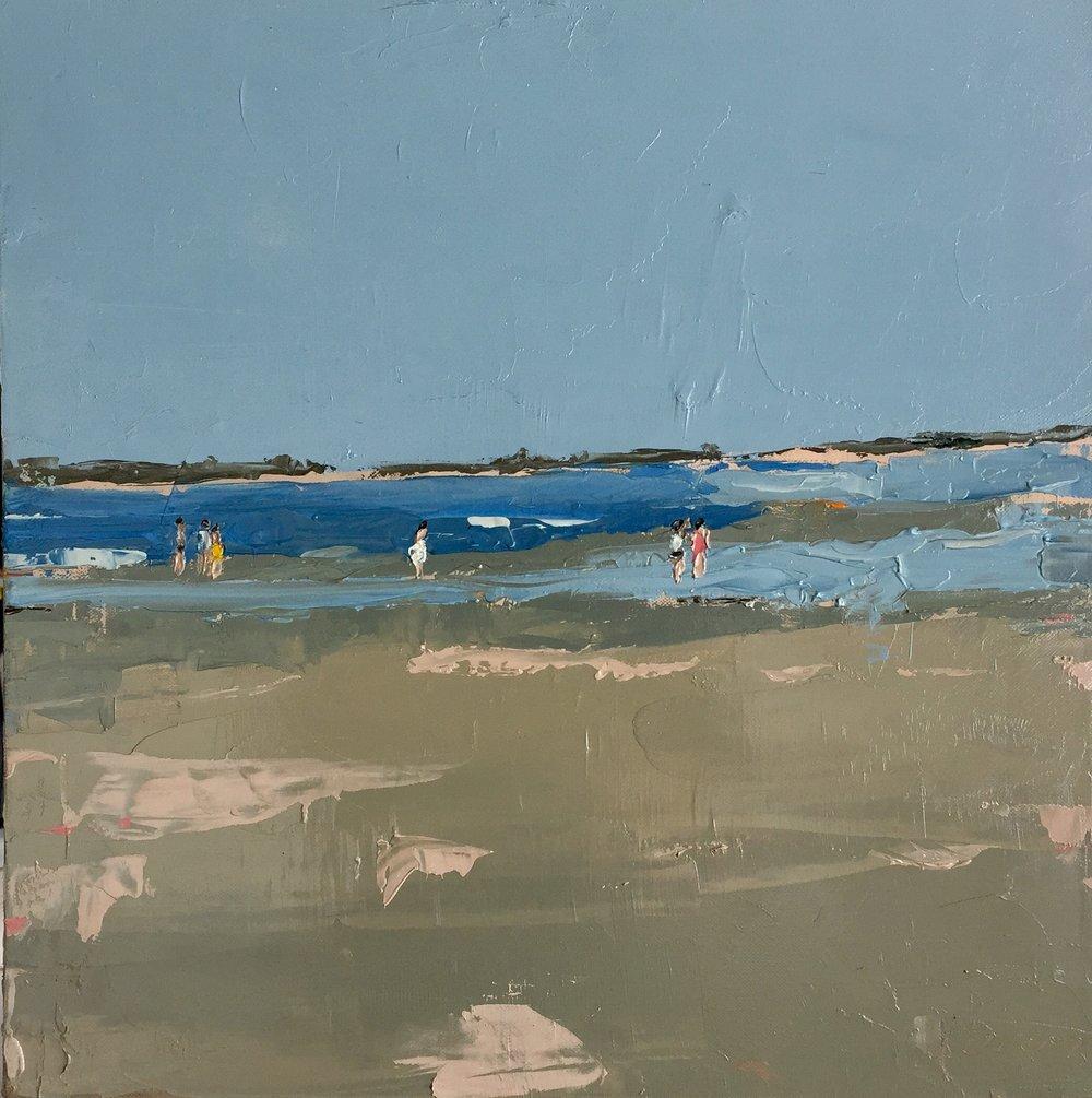 Beachcombers 20x20 oil on canvas