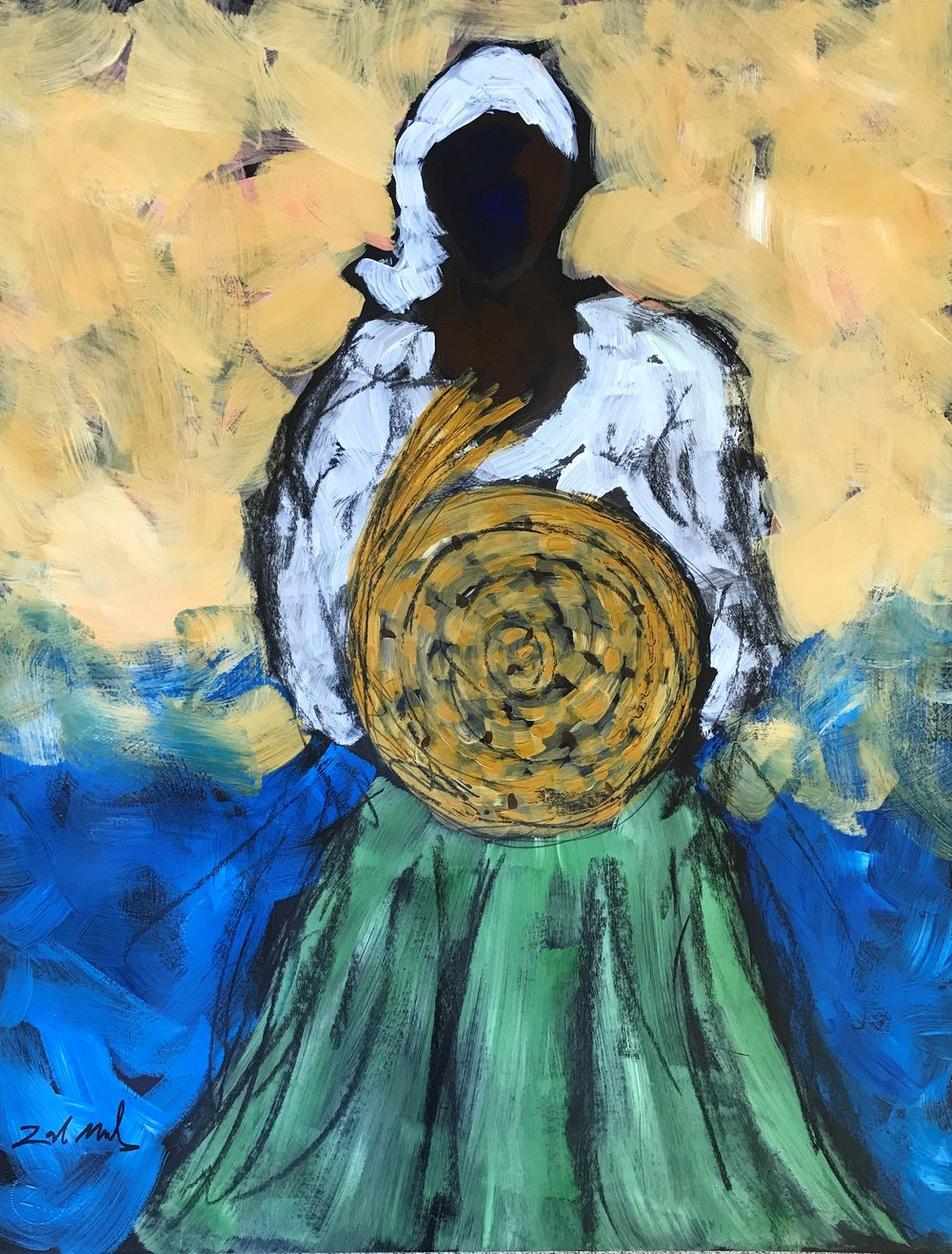 - Woman with Sweetgrass  28x22 acrylic on paper