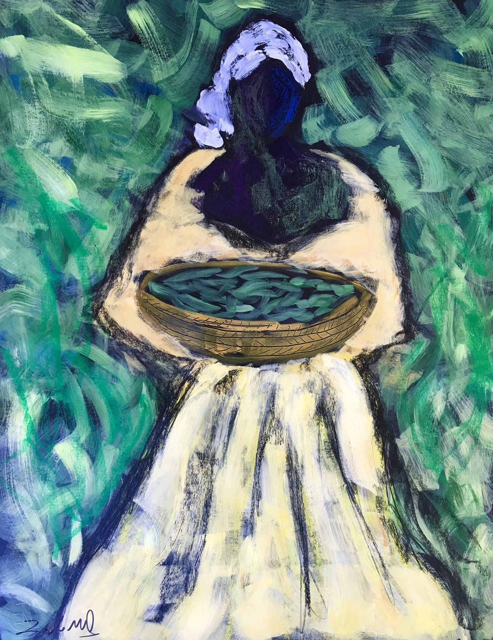 - Woman with Okra  28x22 acrylic on paper