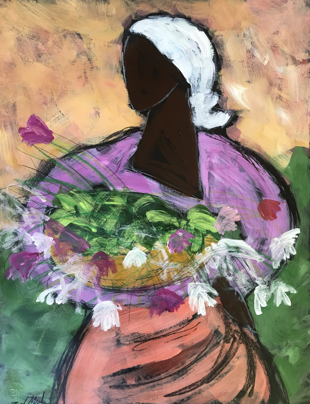 - Woman with Flowers  28x22 acrylic on paper