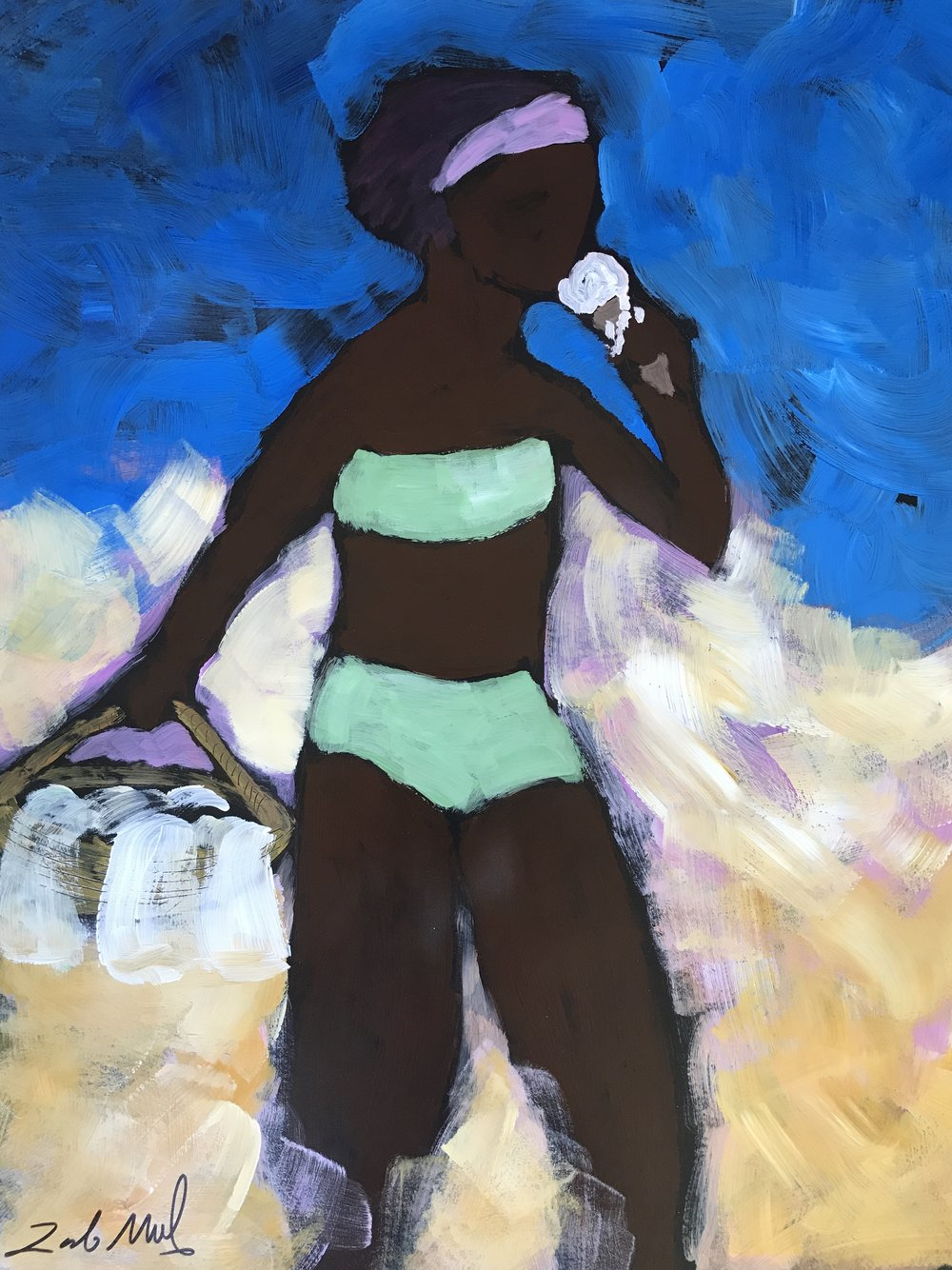 - Girl Eating Ice Cream  28x22 acrylic on paper