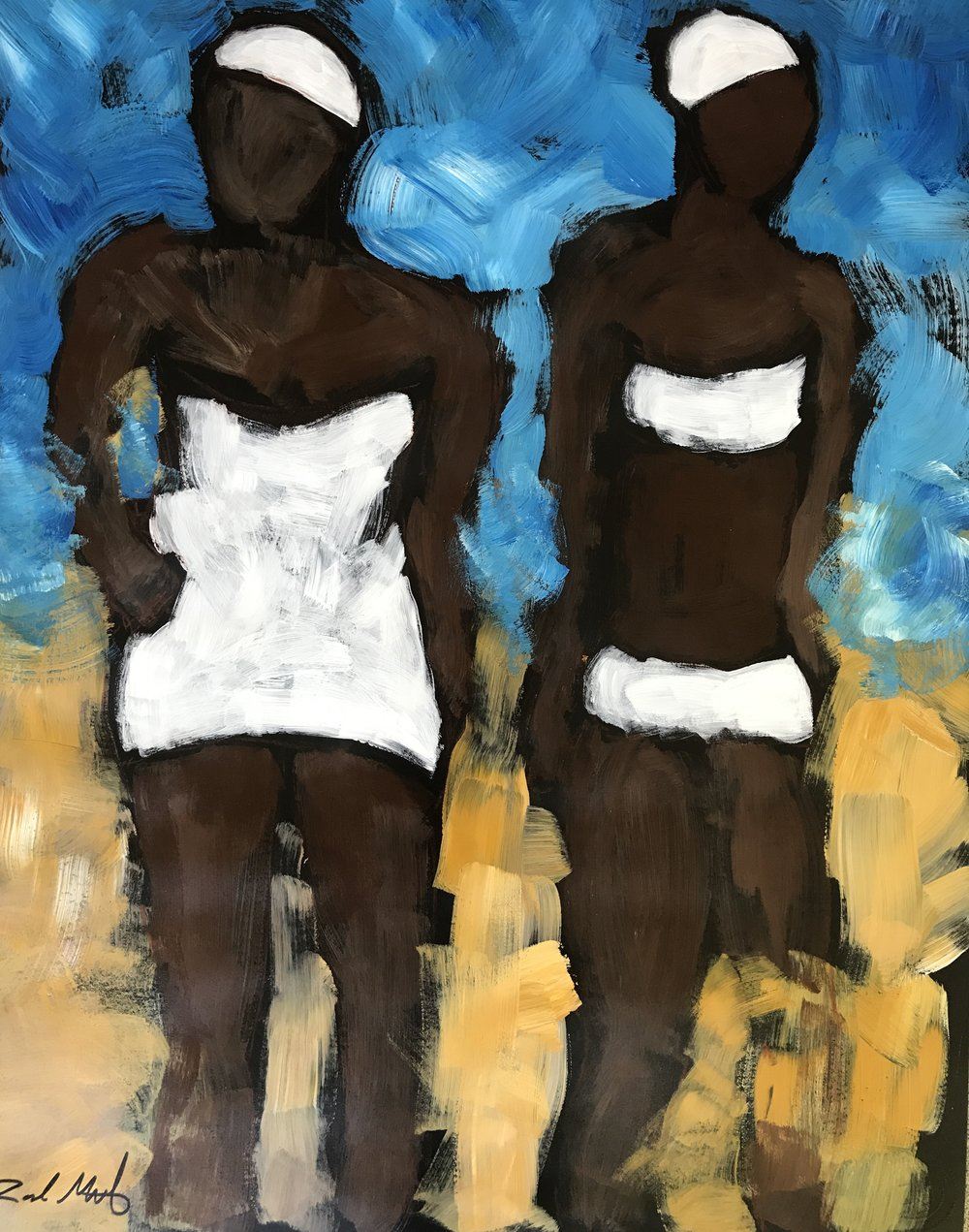 - American Beach Two Bathers  28x22 acrylic on paper