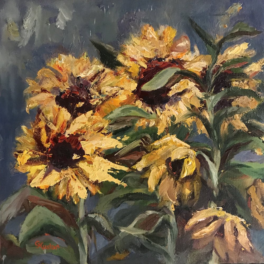 - A Field of Sunflowers 14x14 oil on canvas