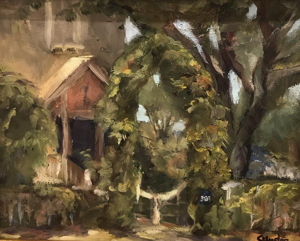 - Trellis the Old Village 8x10 oil on canvas