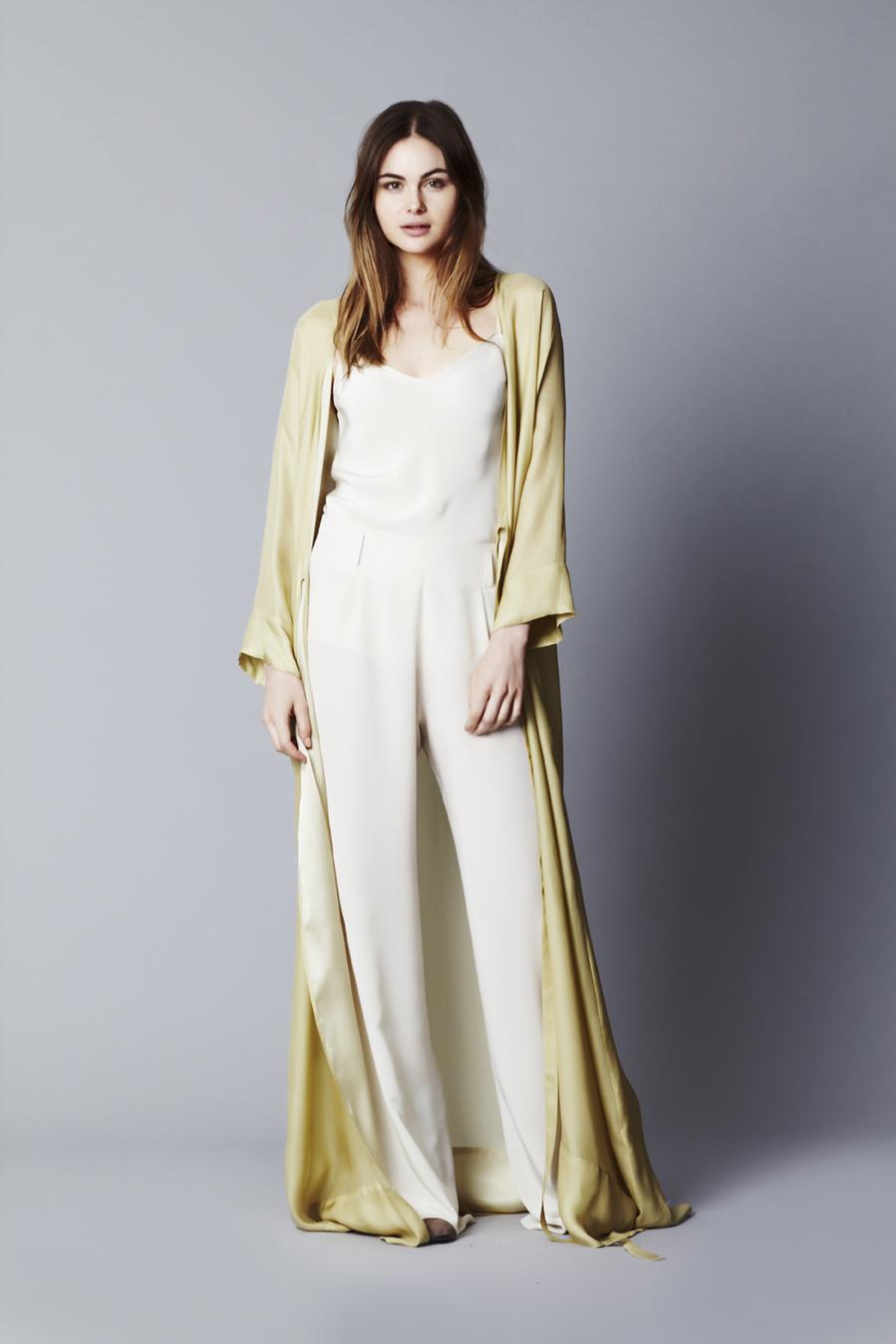 Sylvie Cami // Ivory  Long Robe // Citron  Riviera Pant // Ivory
