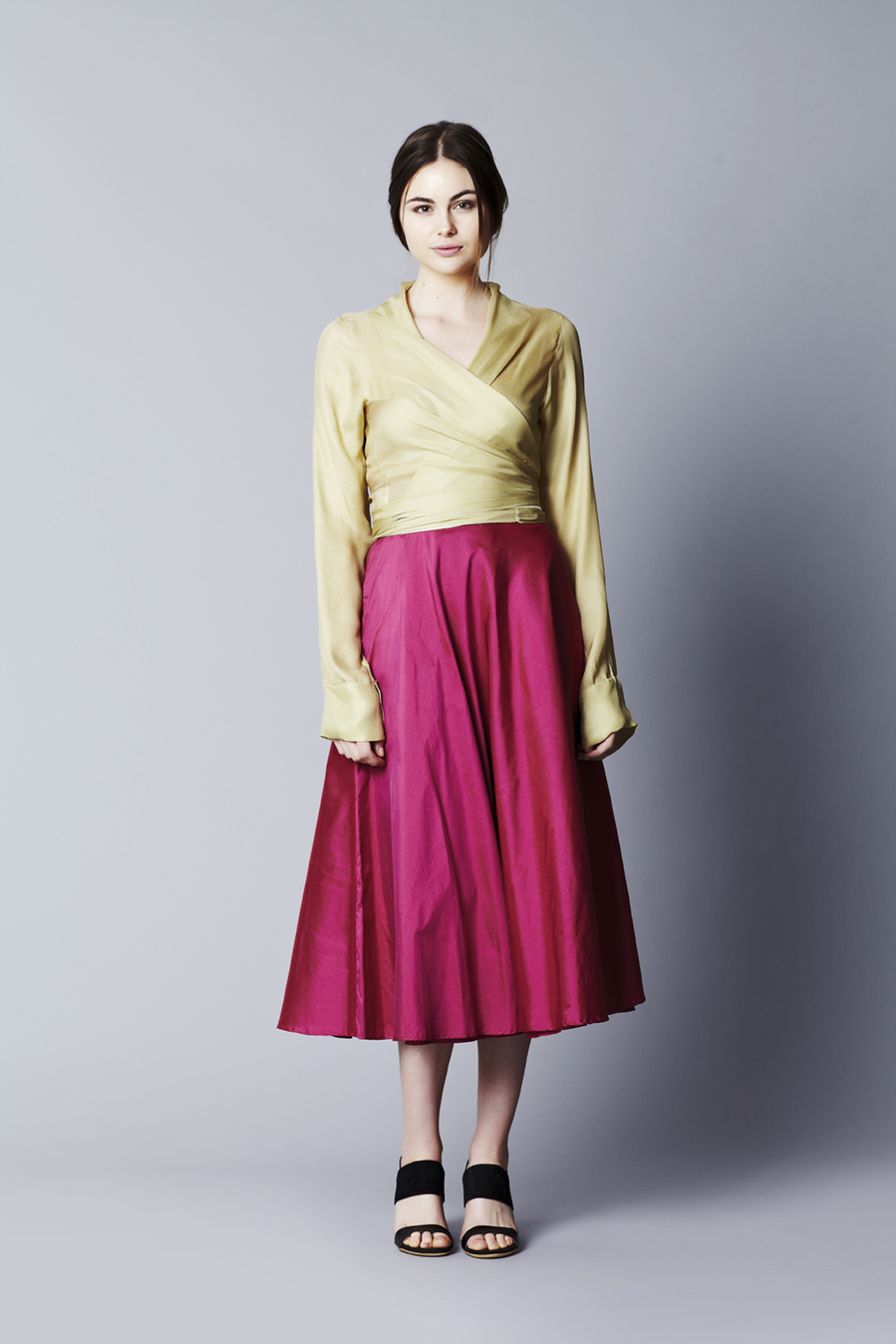 Marakesh Wrap // Citron  Greta Garbo half circle skirt // Lipstick