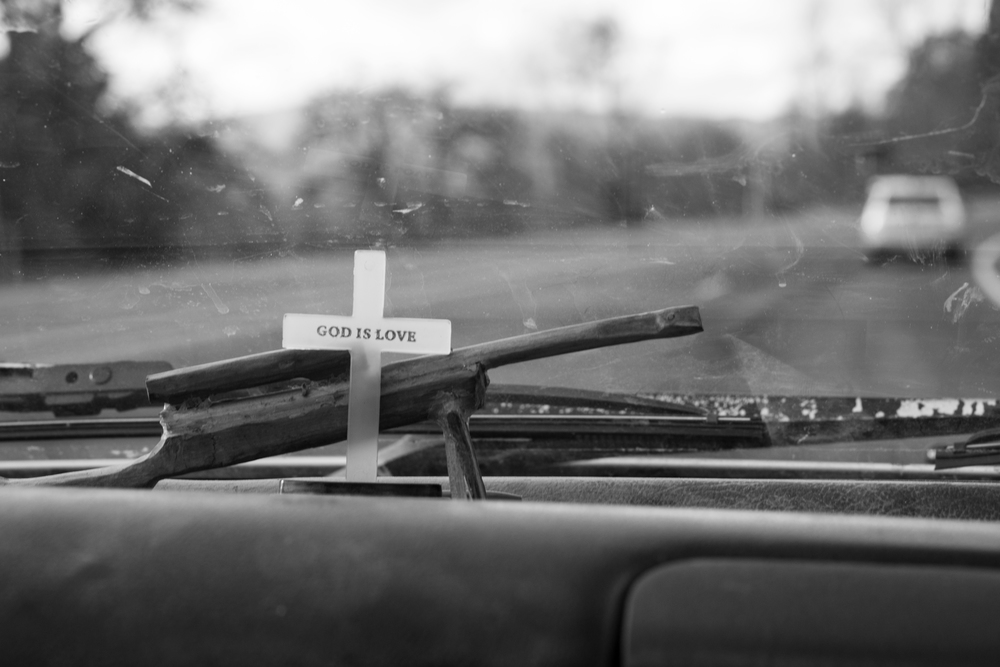 Staley's dashboard décor is a memory of a friend and a reminder of his faith.