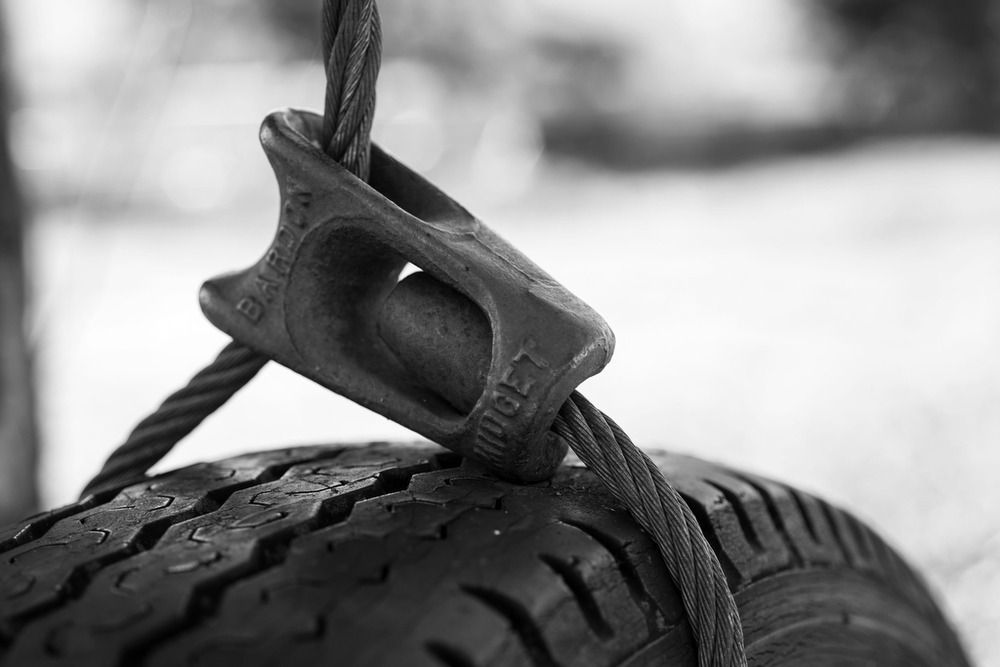 The metal clasp that now suspends a tire swing in Edwards' backyard was once used for falling trees during the thriving logging industry in Oakridge.