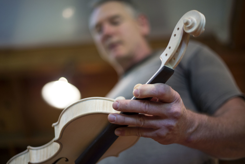 Leroy Douglas is a self-taught violin maker in Eugene, Ore. He fashions two violins per year, which sell for approximately $10,000 each.