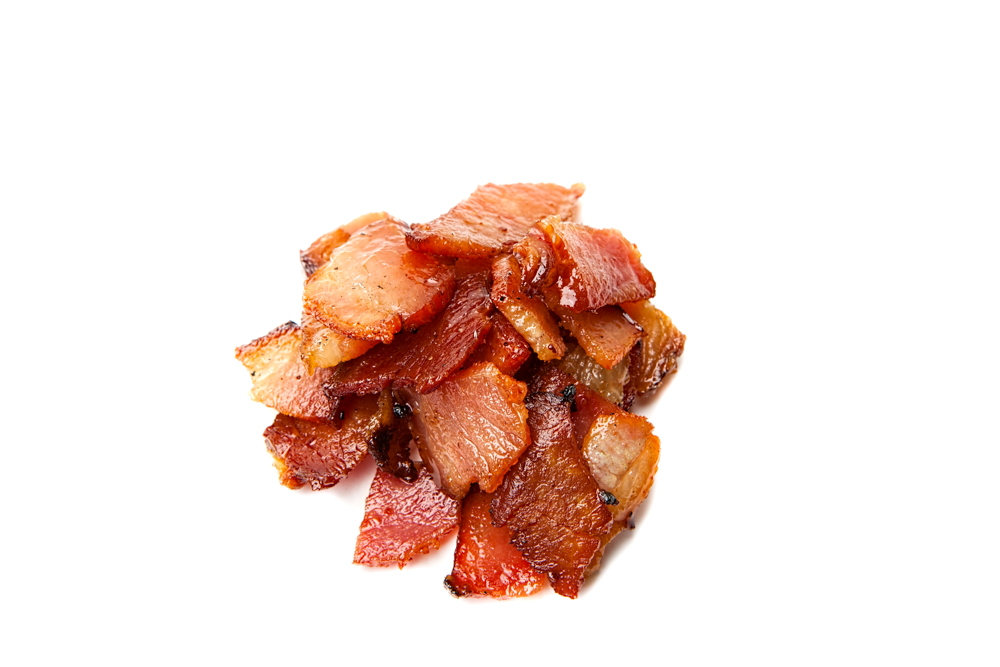 BACON  Apple-wood-smoked bacon, diced and rendered crispy.