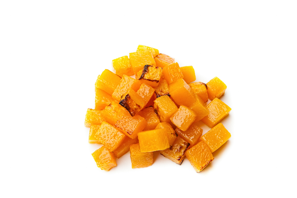 BUTTERNUT SQUASH  Diced and roasted.