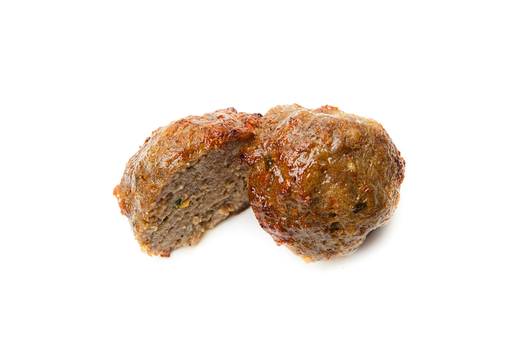 MEATBALLS  Seasoned grass-fed beef roasted in our own wood oven.
