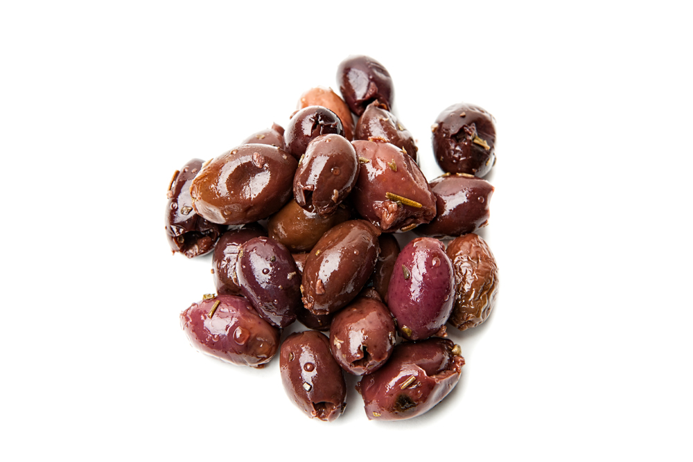 KALAMATA OLIVES  Salty and funky.