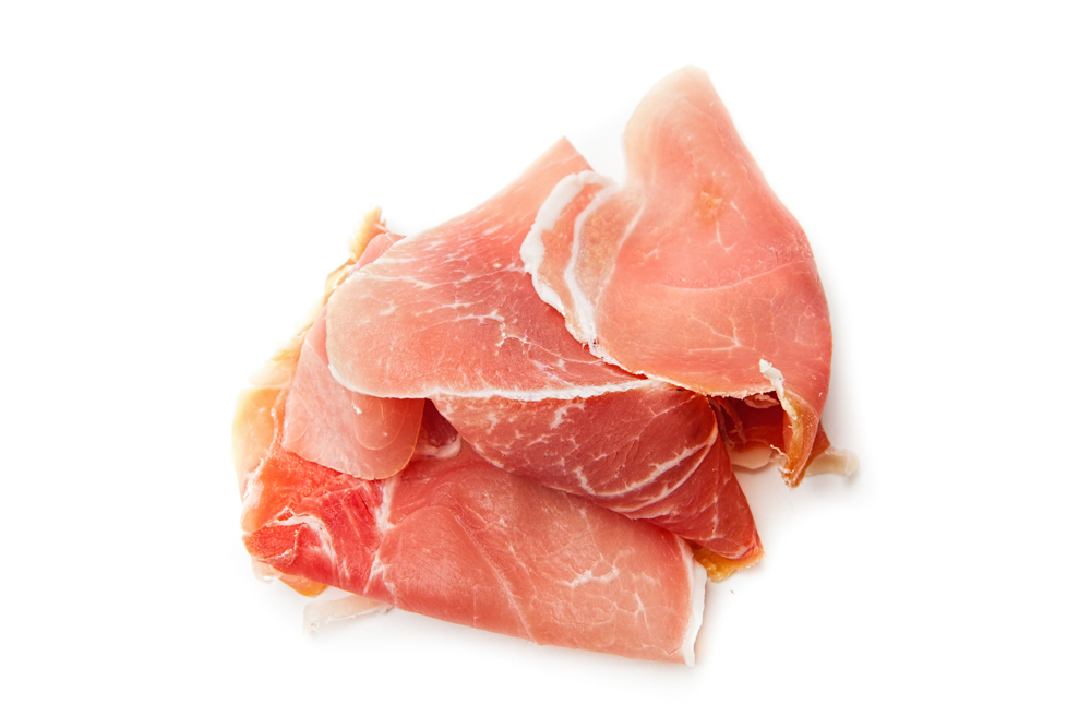 PROSCIUTTO DI PARMA  Sliced to order and applied AFTER baking, never cooked.