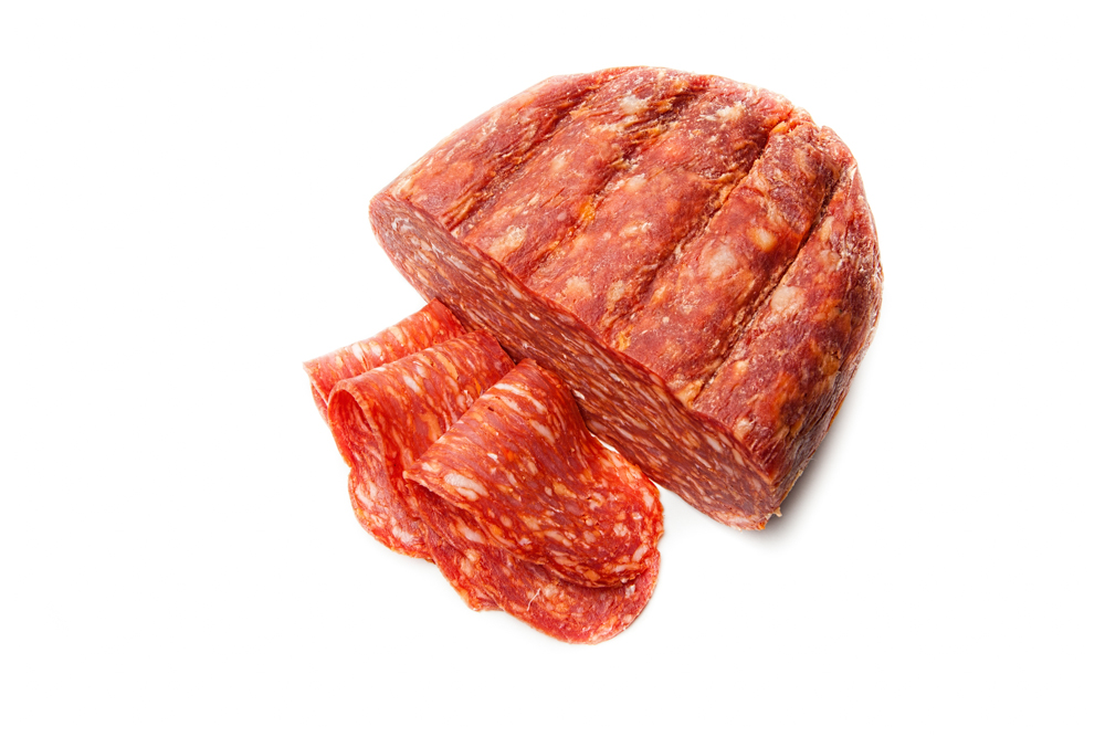 SOPPRESSATA  SPICY. Air-dried salami with Calabrian chiles.