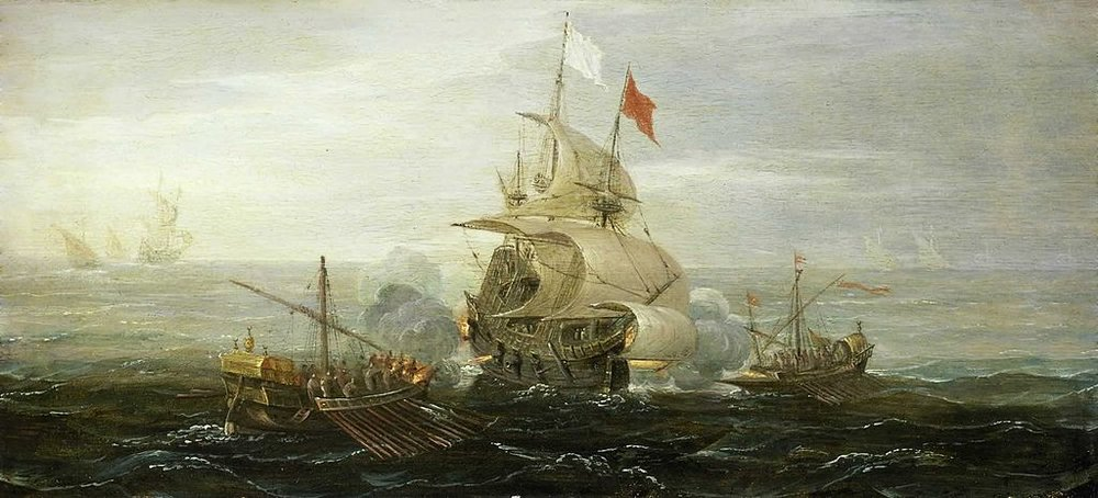 Source: French Ship Under Attack By Barbary Pirates, Wikipedia Commons