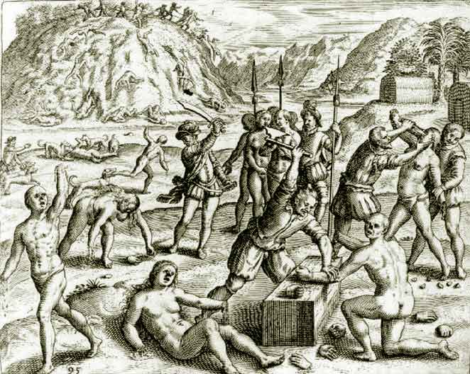 Source: Christopher Columbus' Soldiers Chop the Hands off of Arawak Indians who Failed to Meet the Mining Quota, Wikimedia Commons