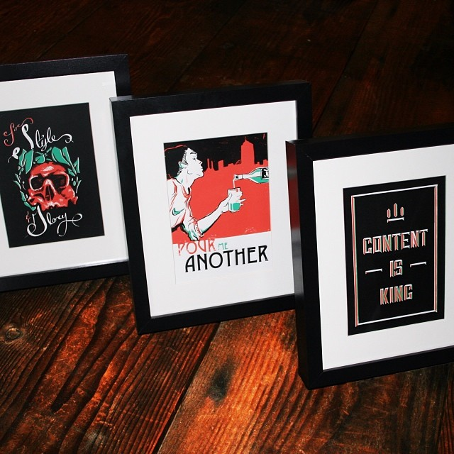 A closer look at some finished and framed holiday prints. @ampersandcontent  #design #content #prints