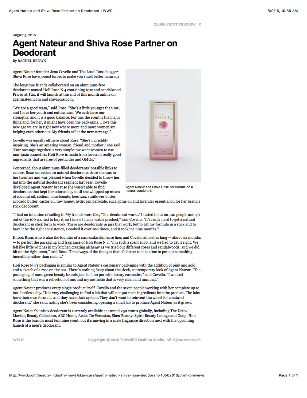 Agent Nateur and Shiva Rose Partner on Deodorant  WWD copy.jpg