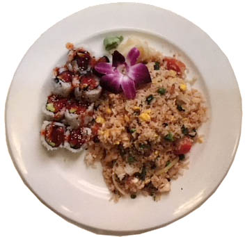 Lunch special combo - chicken fried rice & spicy tuna roll.JPG