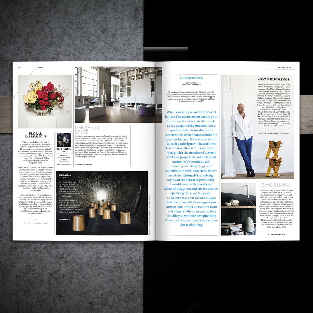 The Little Bishop was featured in the launch issue of Mezzanine Magazine by Niche Media.