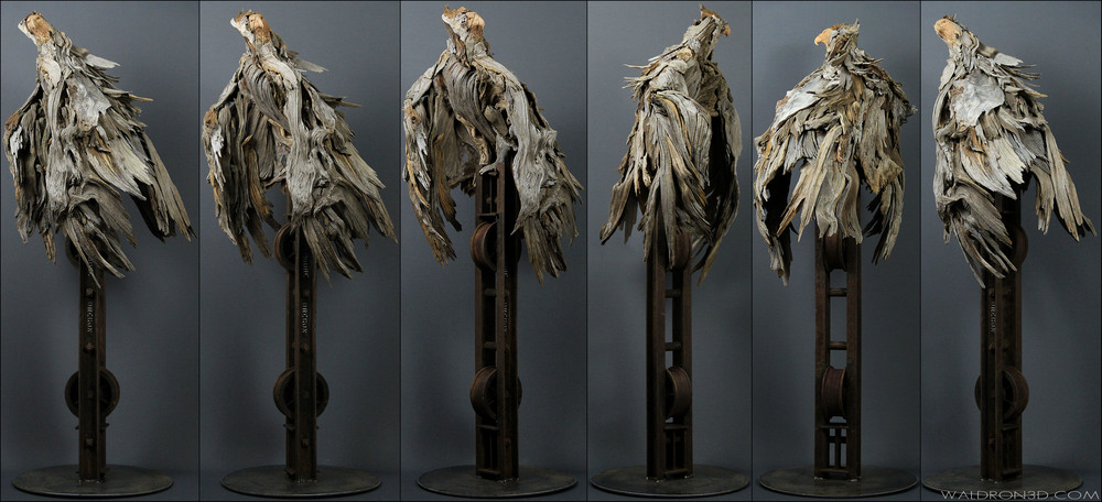 "WALDRON 3D | SCULPTURAL EXPRESSIONS - ""REFUGE"" A FREE STANDING SCULPTURE OF A MANTLING EAGLE - 6FT TALL X 2FT. WIDE. CONSTRUCTED FROM RECLAIMED PIECES OF WEATHERED METAL AND FORAGED, WEATHERED PIECES OF HIGH DESERT WOOD; SUCH AS MANZANITA, JUNIPER, SAGE, AND PINE."