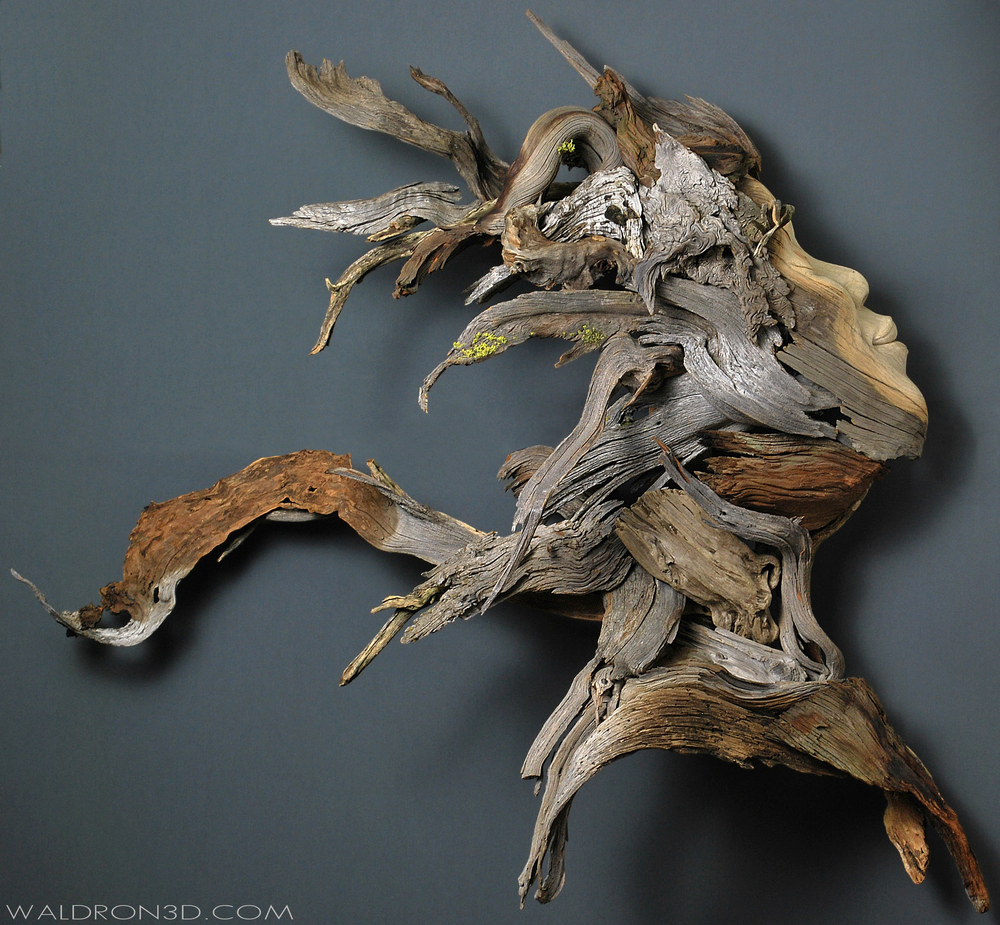 "| AVAILABLE | WALDRON 3D | SCULPTURAL EXPRESSIONS - ""EMERGENCE"" A WALL HANGING ASSEMBLAGE SCULPTURE OF A FEMALE BUST. 4FT. 6IN. WIDE X 4FT. TALL X 16IN. DEEP. CONSTRUCTED AND CARVED FROM FORAGED, WEATHERED PIECES OF HIGH DESERT WOOD; SUCH AS MANZANITA, JUNIPER, SAGE, AND PINE."