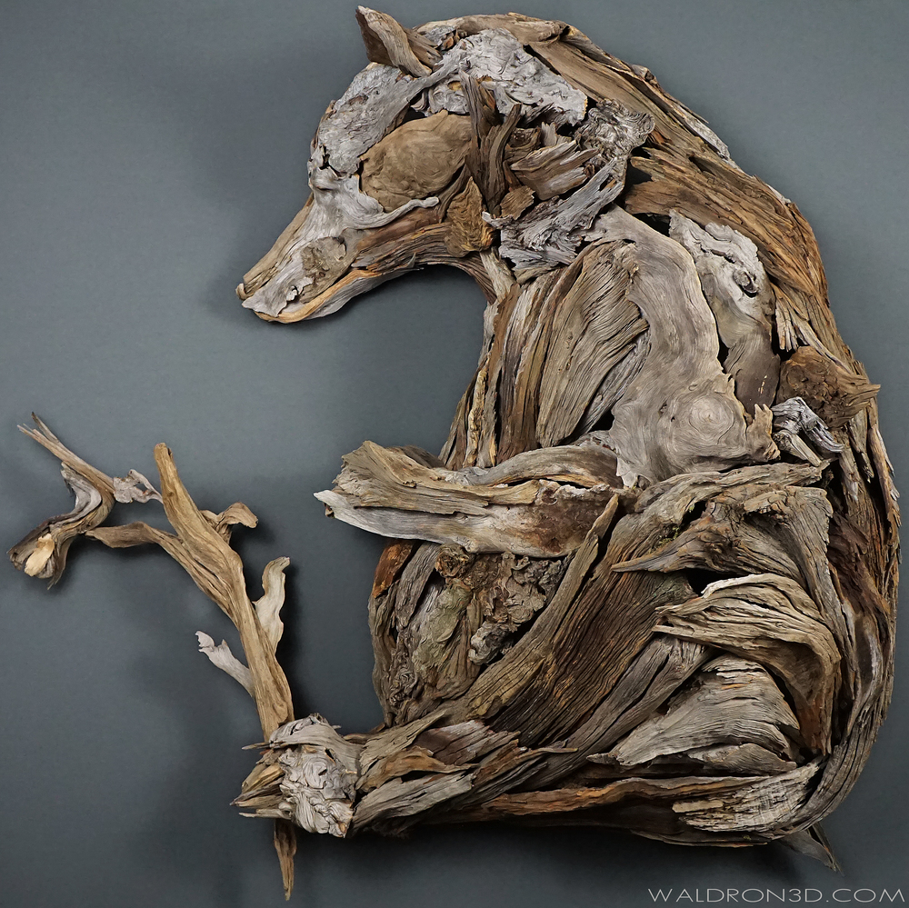 "WALDRON 3D | SCULPTURAL EXPRESSIONS - ""REST"" THIS WALL HANGING ASSEMBLAGE SCULPTURE OF A GRIZZLY BEAR WITH A HUMMING BIRD IS ROUGHLY 5FT. WIDE X 5FT. TALL X 2FT. DEEP. CONSTRUCTED FROM FORAGED, WEATHERED PIECES OF HIGH DESERT WOOD; SUCH AS JUNIPER, PINE, MANZANITA AND SAGE."