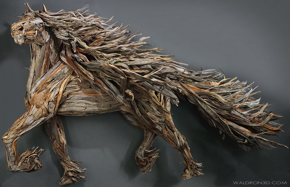 """WALDRON 3D   SCULPTURAL EXPRESSIONS  - """"ZEALOUS"""" THIS WALL HANGING ASSEMBLAGE SCULPTURE OF A REARING HORSE IS ROUGHLY 5FT. 6IN. WIDE X 5FT. 6IN. TALL X 28IN. DEEP. CONSTRUCTED FROM FORAGED, WEATHERED PIECES OF HIGH DESERT WOOD; SUCH AS JUNIPER, PINE, MANZANITA AND SAGE."""