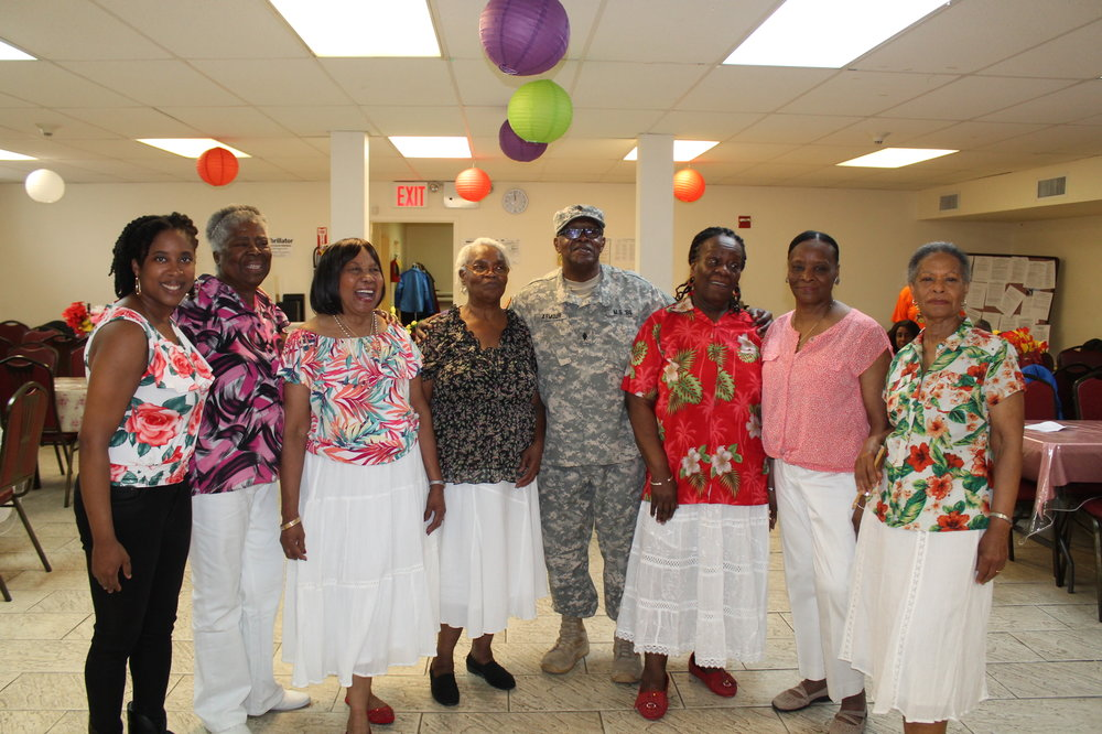 Seniors participating in the Cuban Song & Dance residency at the Remsen Senior Center pose for a picture with instructor and SU-CASA artist, Danielle Brown after performing during the culminating event for the residency. SU-CASA is funded in FY18 by New York City Council, and we thank Councilmember Jumaane D. Williams for his support.