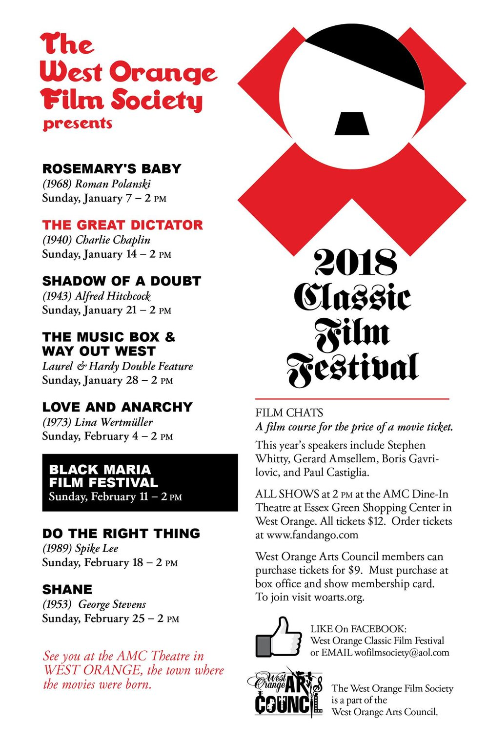 West Orange Classic Film Festival Schedule 2018