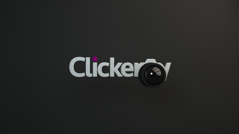 "Stylized rendering of the Clickery logo with the symbol connecting the ""r"" and ""y"" depicted as a camera lens."