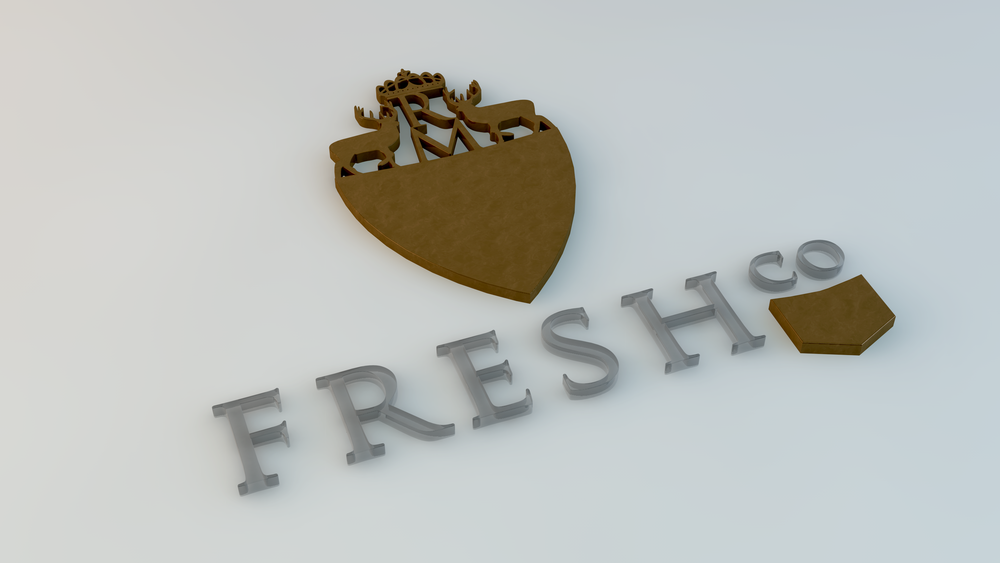 FreshCo Coat of Arms in a stylized rendering.