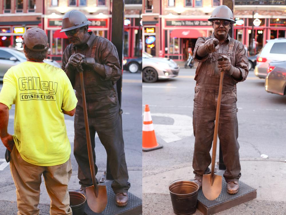 A construction worker statue