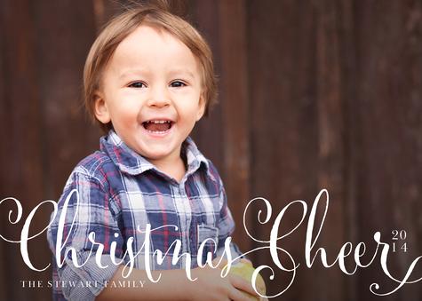 """Cheer"" Custom Photo Holiday Cards"
