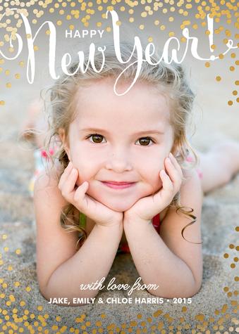 New Year Confetti Custom New Years Photo Card