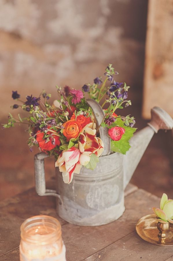 Spring Blooms in a Vintage Watering Tin