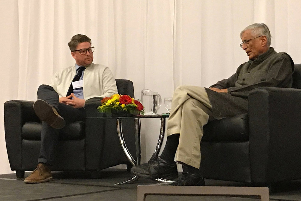 Interviewing Rajmohan Gandhi, grandson of Mahatma Gandhi, for UCalgary Alumni Weekend 2017.