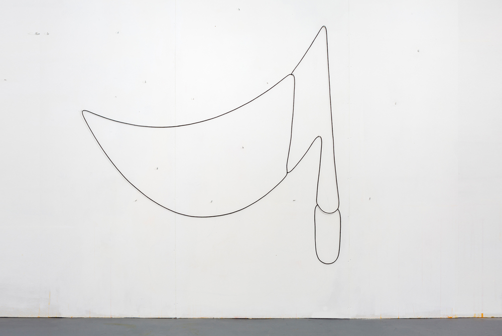 Hanging Drawing (3 Loops), 2014, lead, rubber, acrylic paint, series of three connected loops, set of hooks, dimensions variable