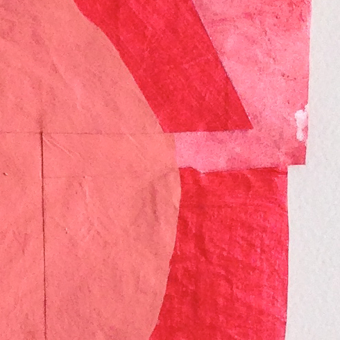 """Disrupted Drawing Small 27, detail, 2015,gesso gouache and acrylic with collage on rice paper,15 1/2x 10 1/8"""""""