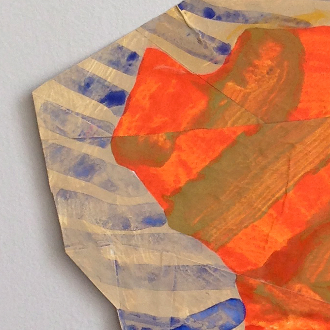 """Disrupted Drawing Small 17, detail, 2015,gesso and acrylic with collage on rice paper,17 X 11 3/4"""""""