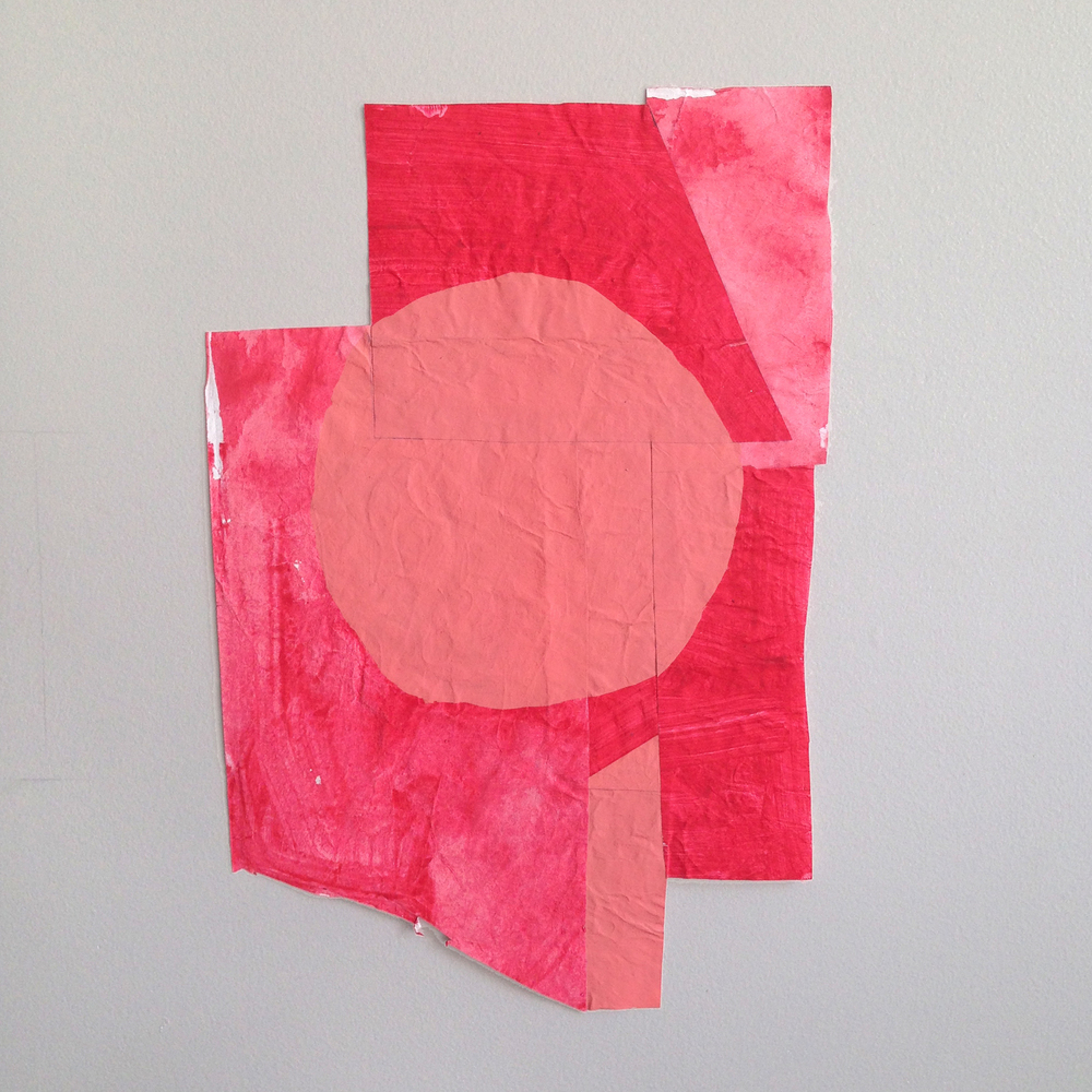"""Disrupted Drawing Small 27, 2015,gesso gouache and acrylic with collage on rice paper,15 1/2x 10 1/8"""""""