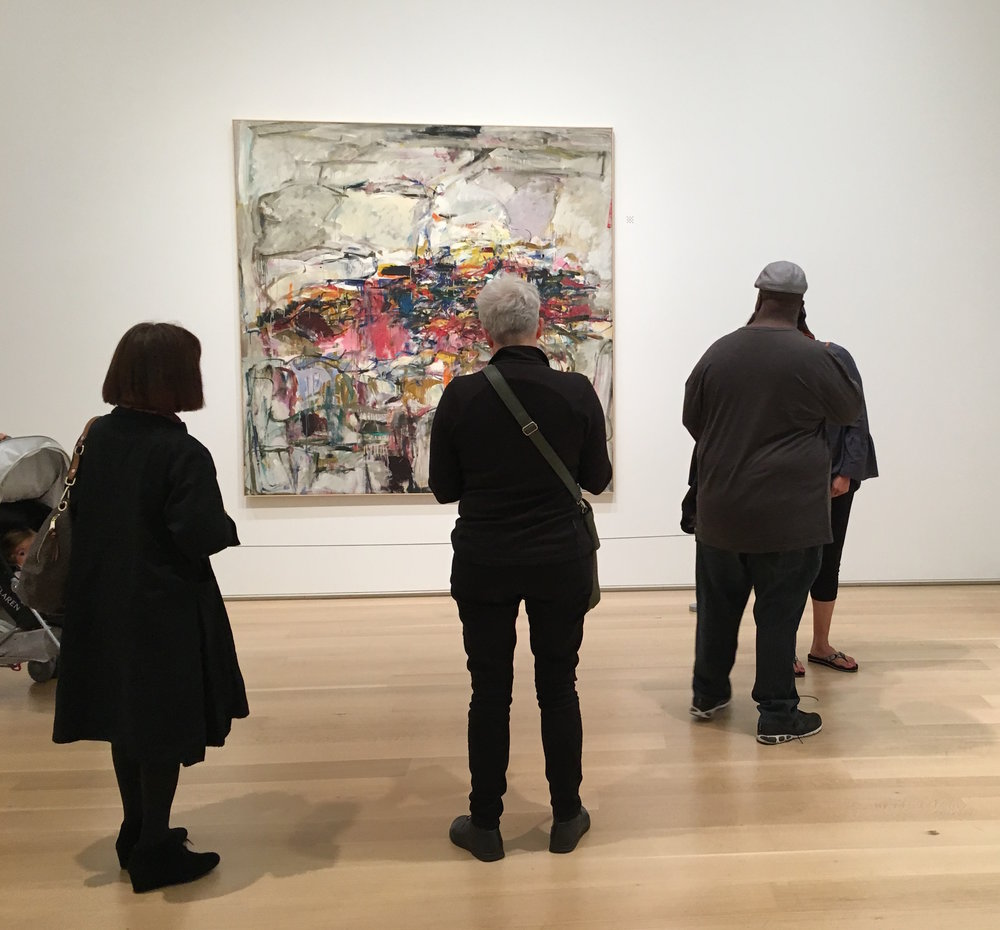 Documentation of Drawing Attention: Oceanic Time with the Others performance at the Art Institute of Chicago with City Landscape by Joan Mitchell, 1955
