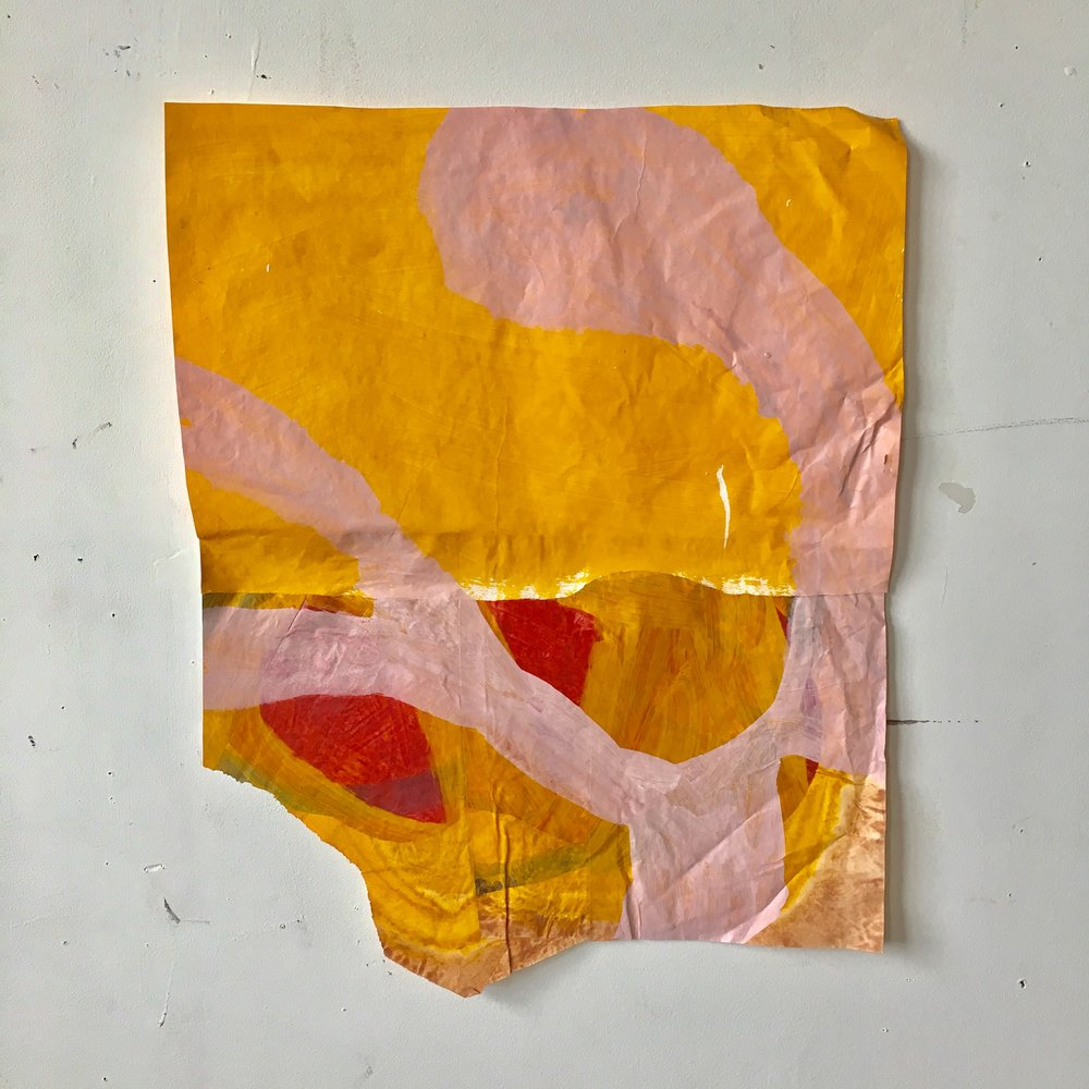 "Untitled, 2017, acrylic on rice paper, 16.25"" x 19.5"""