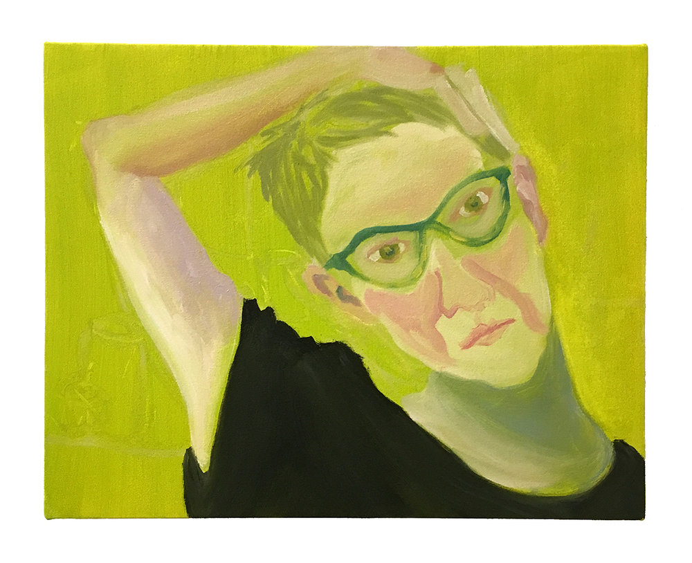 "Self-Portrait (Neck Stretch) , 2017, oil on canvas, 18"" x 22""  Created alongside the daily figure self-portraits, these paintings explore paint and selfhood, a woman regarding herself. This painting series links with my current graduate school research and writing about women painters and self-portraiture including Alice Neel, Chantal Joffe and Emilie Charmy among others."