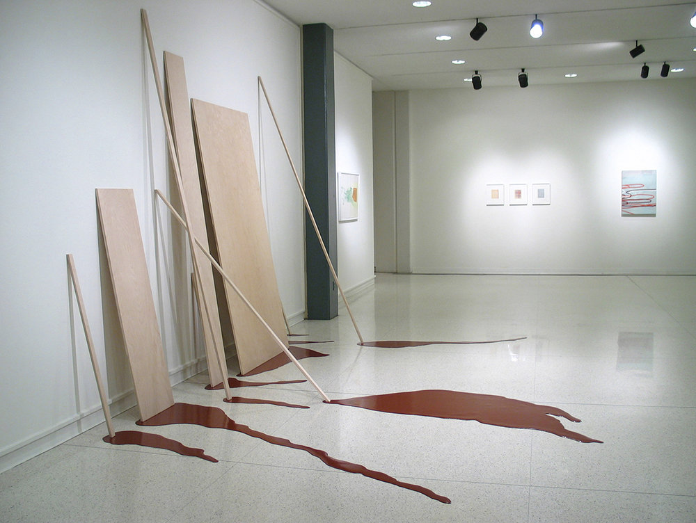 Seep , 2004, wood, poured paint, vinyl flooring, 12' x 15' x 10'  Seep was created on-site at the Memphis College of Art as part of a two-week residency which included lecturing and giving critiques in individual studio visits. The exhibition was entitled  Seamless  and included Amy Sillman, James Siena and Dan Devening among others.