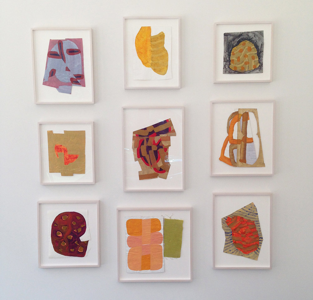 "Part of  Disrupted Drawings  Installation at   Carroll and Sons Gallery, Boston, MA, 2015, acrylic, gouache, and gesso on rice paper, various sizes all approx. 18"" x 12""  This installation of works was part of a solo exhibition at Carroll and Sons, the Boston gallery that represents my work."