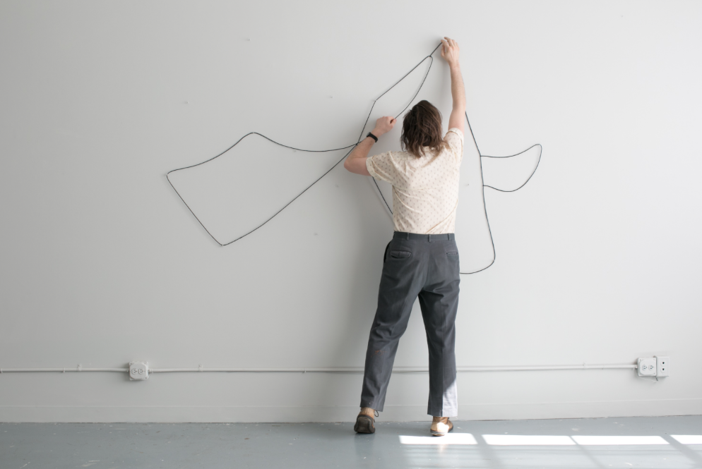 Hanging Drawing (20 successive drawings, unique and unrehearsed) , 2015, participatory performance work plus kit including archival box, physical drawing line, 30 pins, instructions, edition of 15  This work has been shown and performed in Boston, Charlottesville and London. The participants follow a simple set of instructions to take brief actions to form a set of 20 drawings in succession. The drawing process is on view for gallery visitors to witness.