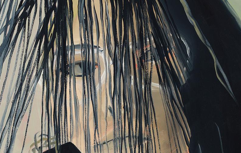 "Marika's Thread,  detail, 2018, oil on canvas, 33"" x 28"""
