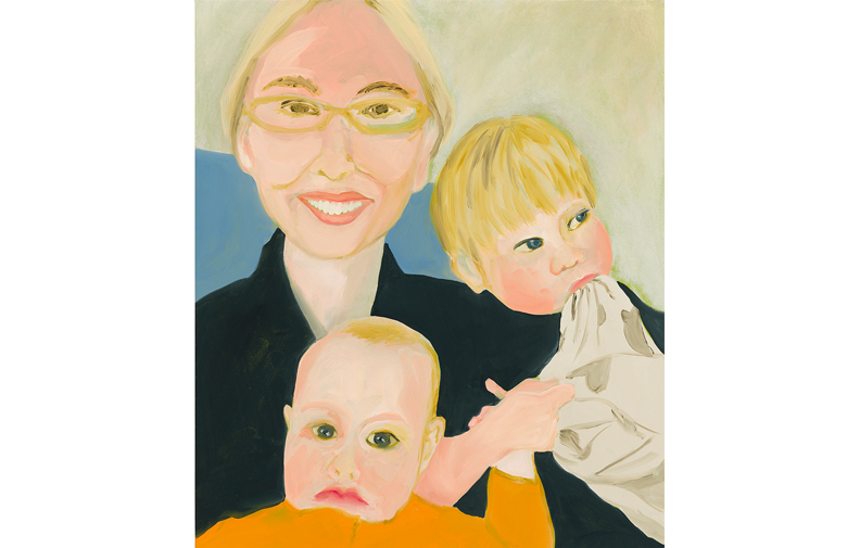 "Morgen, Rowan, and Josephine , 2018, oil on canvas, 33"" x 28"""
